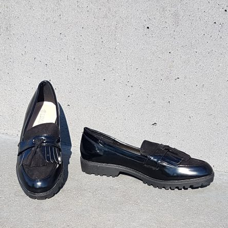 Black Fringe Loafer