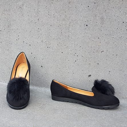 Black Furry Ball Loafer