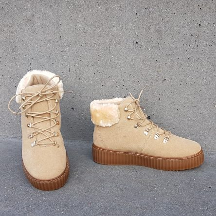 Khaki Fur Creeper Boots